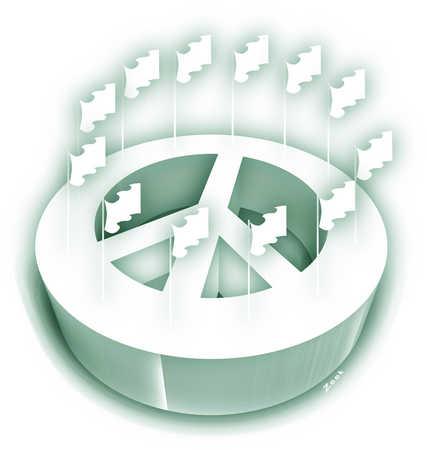 Flags encircling peace symbol