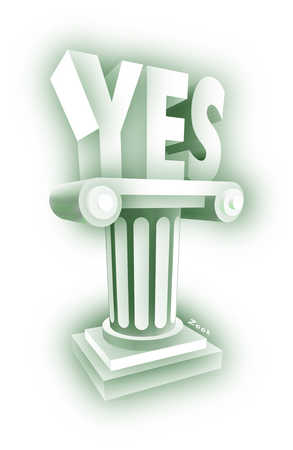 """YES"" on pillar"