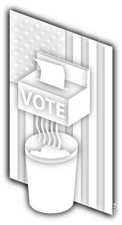Voting machine shredding ballot