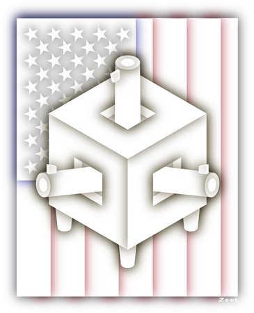 American flag behind weapons