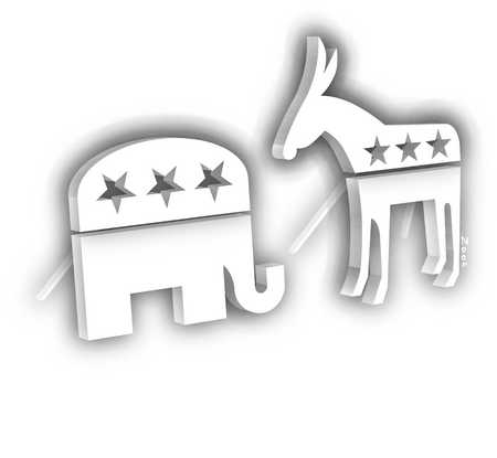 Donkey and elephant in political arena facing off