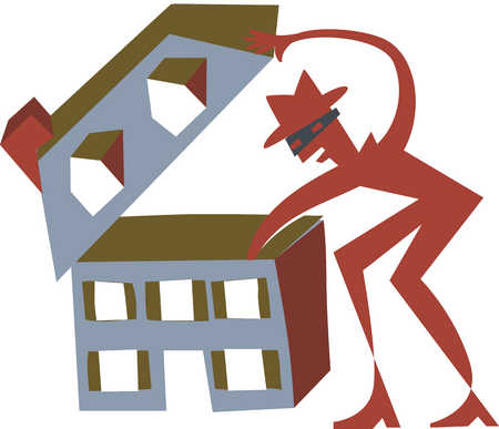 robber lifting the roof of a house