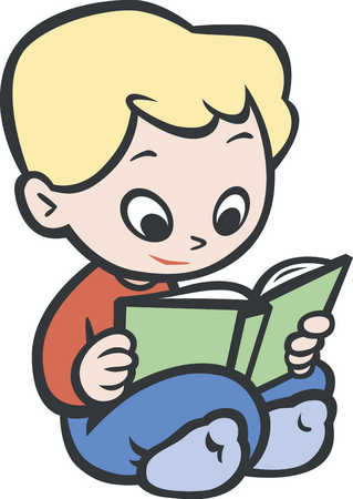 Boy (3-4) reading book
