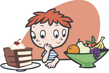 Confused boy with two faces looking at fruits and cake