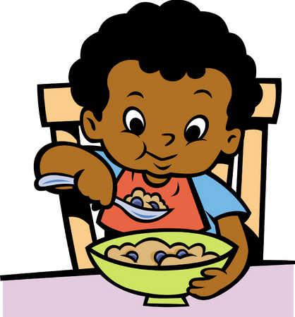 Stock Illustration - little boy eating cereal