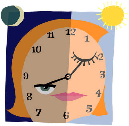 Woman with face of a clock
