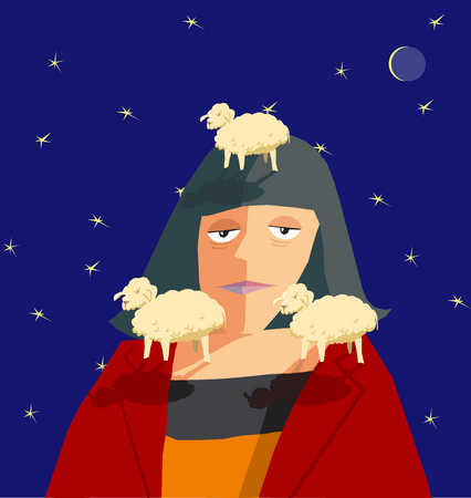Woman with three sheep around her head at night