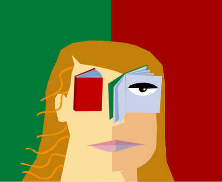 Woman with a closed and opened book for eyes