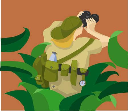 Woman on a safari looking through binoculars