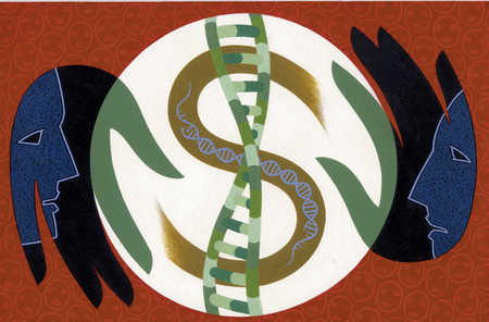 Two people holding circle with DNA strand within dollar sign