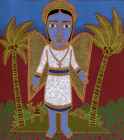 Religious person with wings as an angel amidst palm trees