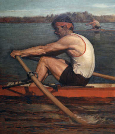 Two men rowing in competition