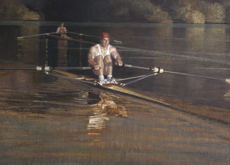 Two men rowing in water