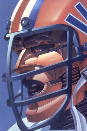 Man with football helmet with face as machine