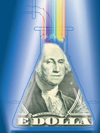 George Washington in a conical flask