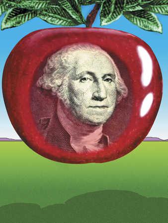 George Washington on an apple