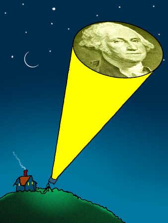 George Washington on a flashlight