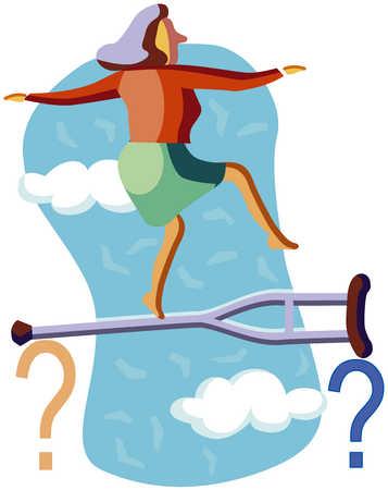 Woman tightrope-walking on a crutch