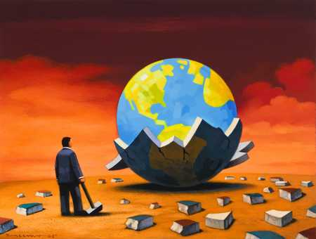 Businessman smashing shell of old world