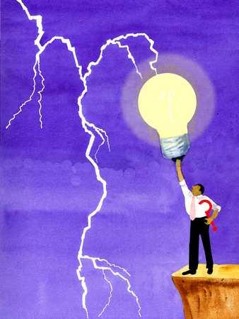 Man holding lightbulb up to lightning