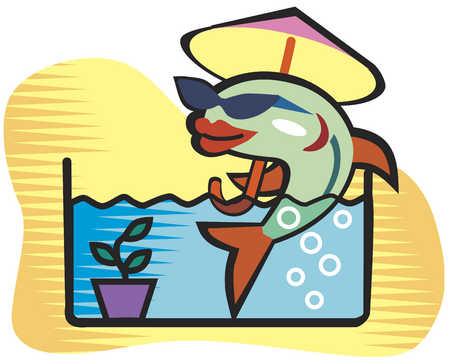 Fish in sunglasses relaxing under umbrella