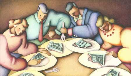 Men and women eating money
