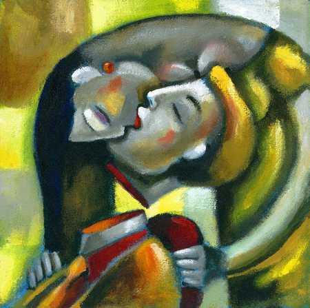 Woman kissing decapitated man