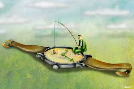 Businessman fishing in watch