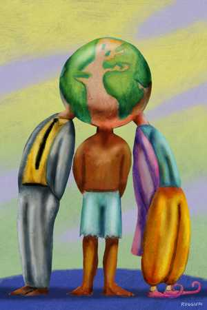 Three people sharing global head
