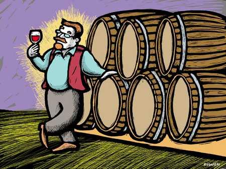 Wine maker testing a glass of wine