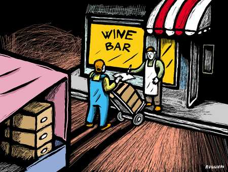 Wine distributor delivering wine to wine bar