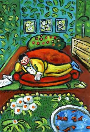 Man relaxing in garden room