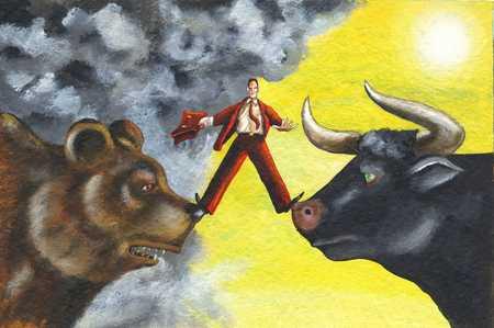 Man balancing between a bull and bear
