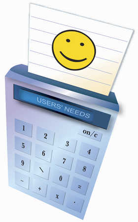 Detail view of calculator with smiley face