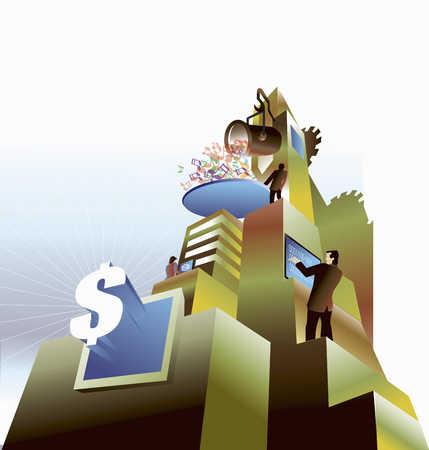 Business people operating money machine