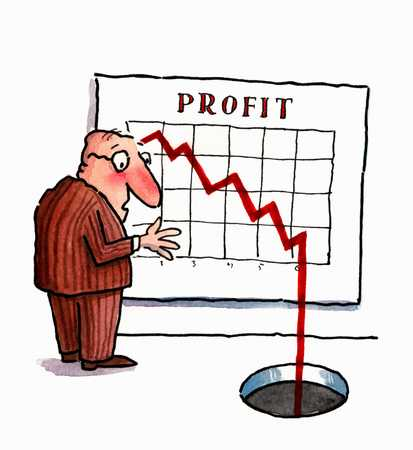 Businessman watching profit drop off chart