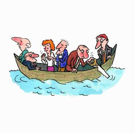 Men and women in boat