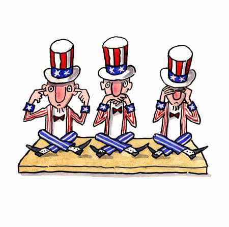 Uncle Sam in three different positions