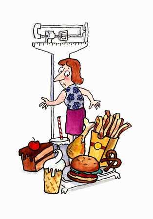 Woman on scale behind junk food