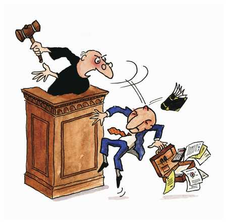 Judge hitting lawyer in head