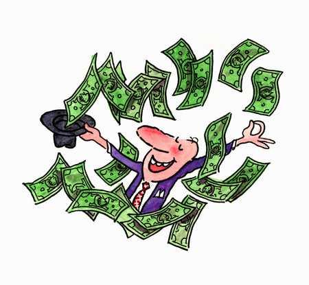 Man celebrating his financial success