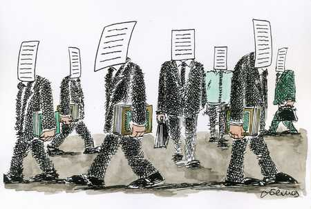 Businessmen with report heads