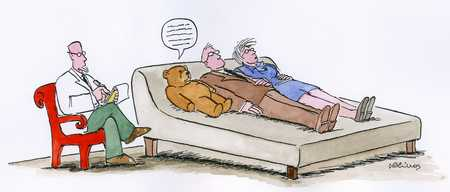 Couple in therapy with teddy bear