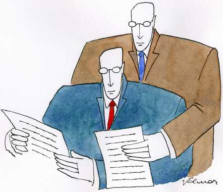 Businessmen reading reports