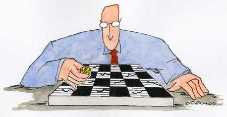 Man playing checkers with coins