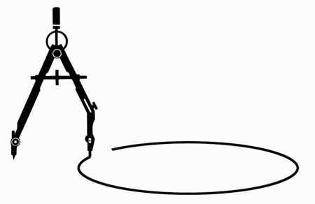 Stock Illustration - Drafting compass drawing a circle