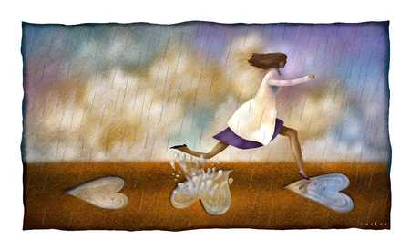Woman jumping across puddles in shape of heart