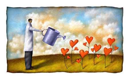 Man watering heart plants