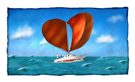 Sailboat with heart shaped sails