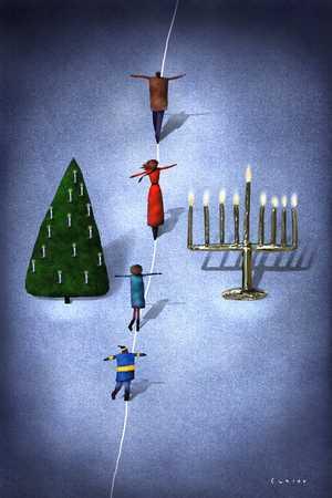 People walking between Hanukah and Christmas